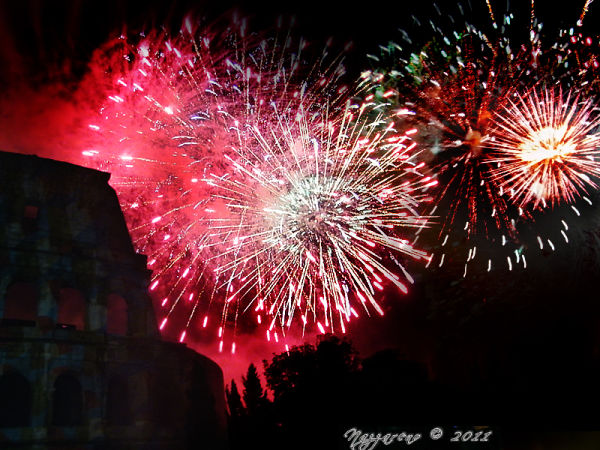 ...fireworks over the Colosseum
