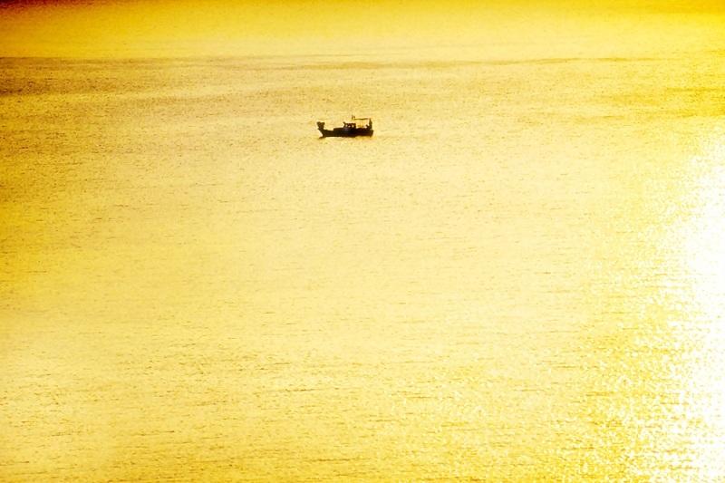 sunrise, sea, light, colors, gold