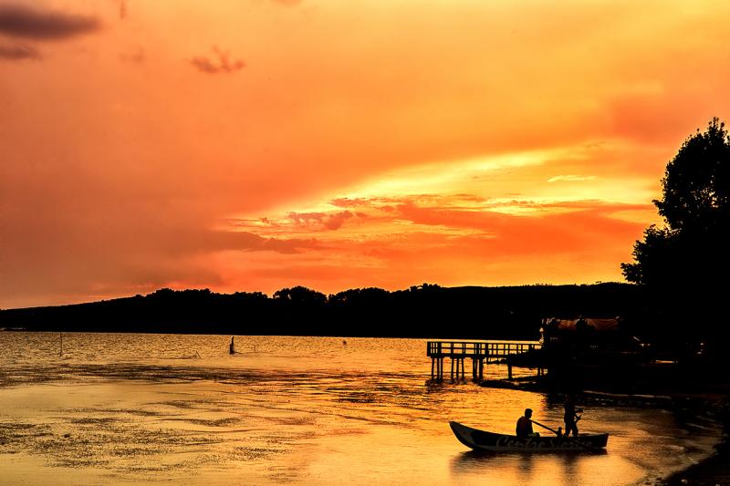 Magic sunset on the lake