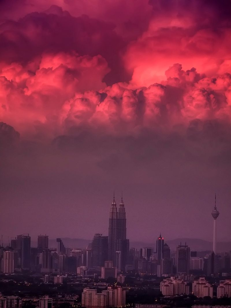 Red skies over KLCC