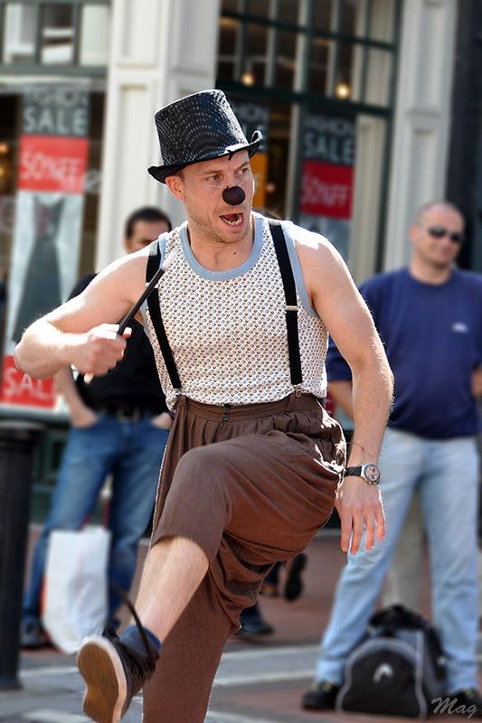 Un clown a Grafton Street, Dublin 2009