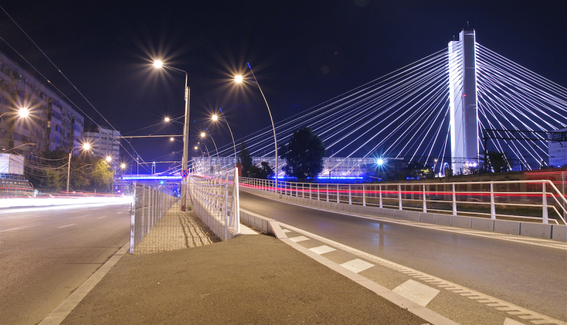 Bridge pod Bucharest Bucuresti night lights