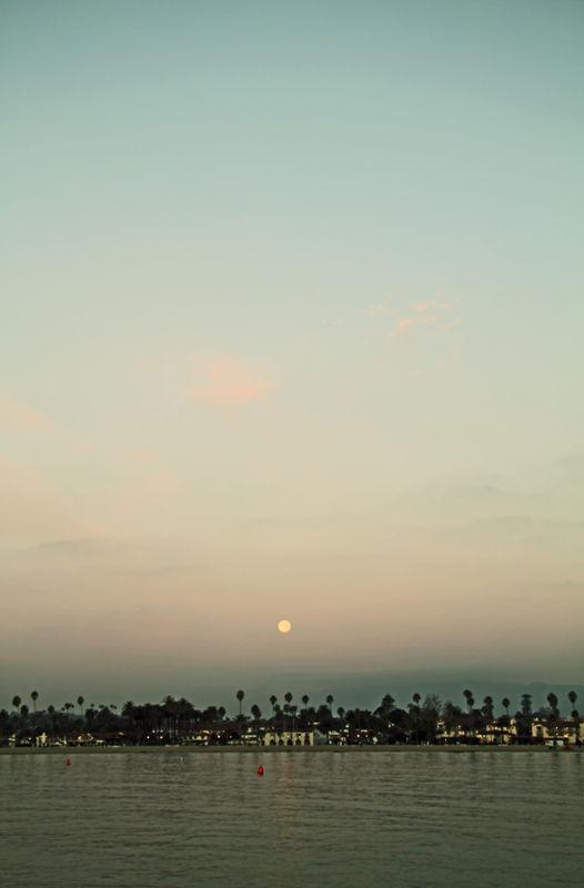 Moonset over West Beach
