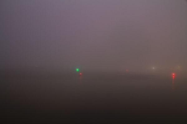 Santa-Barbara, Harbor, water, fog, night-photograp