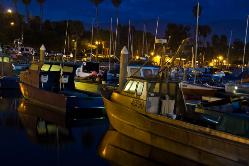 Santa-Barbara, Harbor, water, night-photography, n