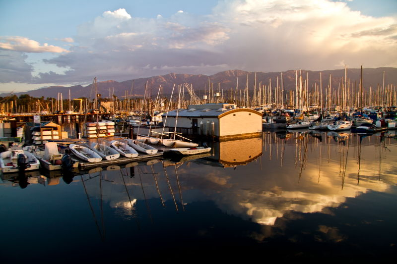Santa-Barbara, harbor, reflections, clouds, water
