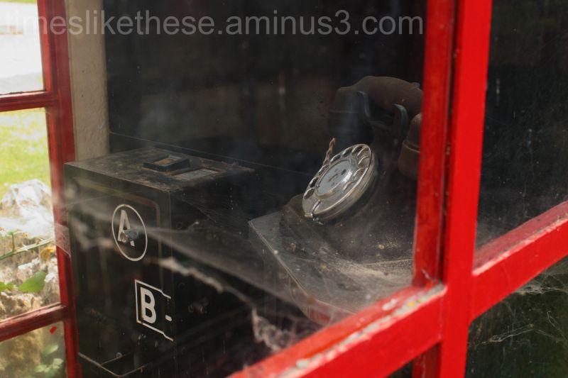 Old public phone box in Tyneham village