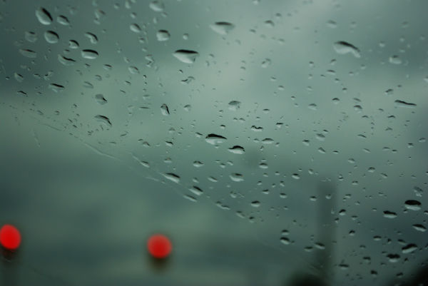 Water droplets on the windshield.