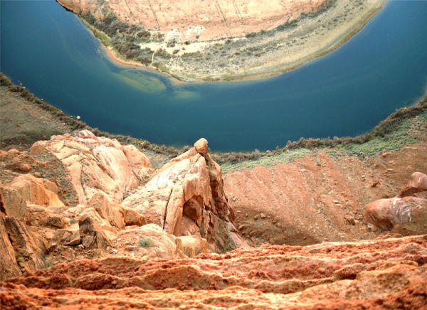 Over the edge at Horshoe Bend in Arizona