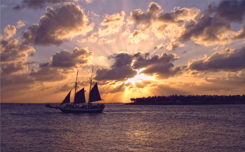Sailing away in Key West during a Sunset