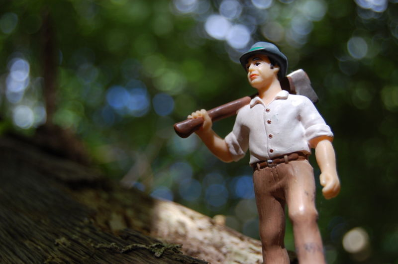 Toy lumberjack in real woodland