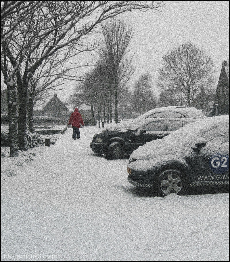 woman snow red