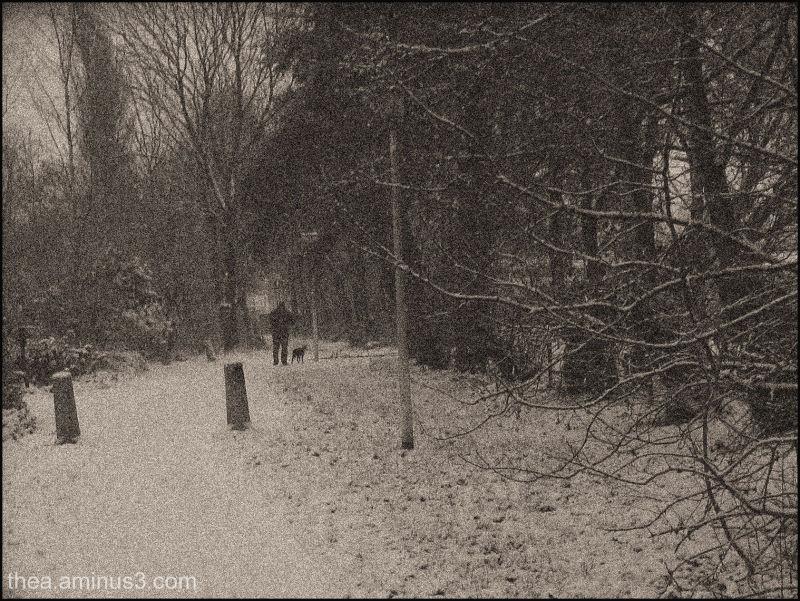 snow man dog walking