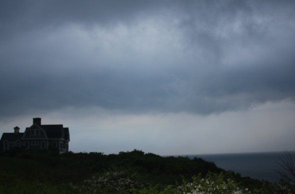 block island house in a thunderstorm