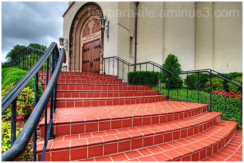 Perspective and wide angle shot of a local church