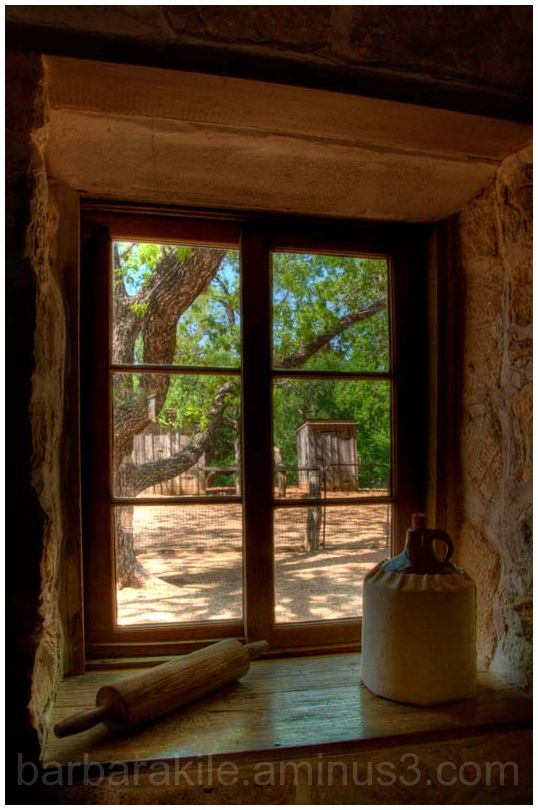 Looking through a window at LBJ Living Farm