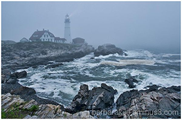 Foggy evening at the Portland Lighthouse
