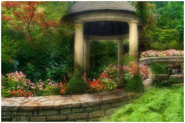 Four image overlay of garden gazebo