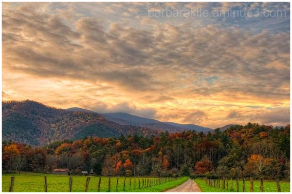 Cloudscape over the Smoky Mountains in the fall.