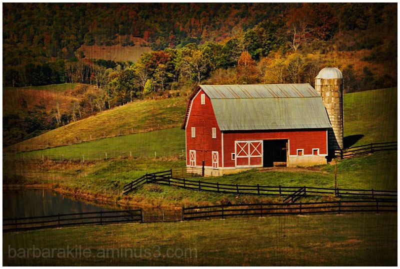 Texture overlay of red barn