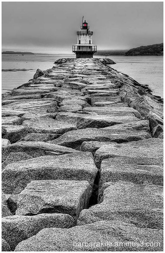 Wide angle of maine lighthouse, converted to b-w