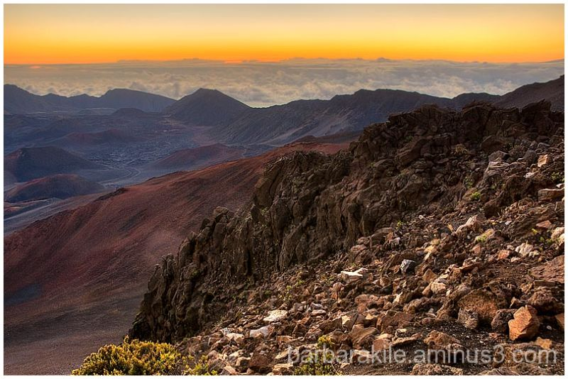 The crater of Haleakala volcano near sunrise