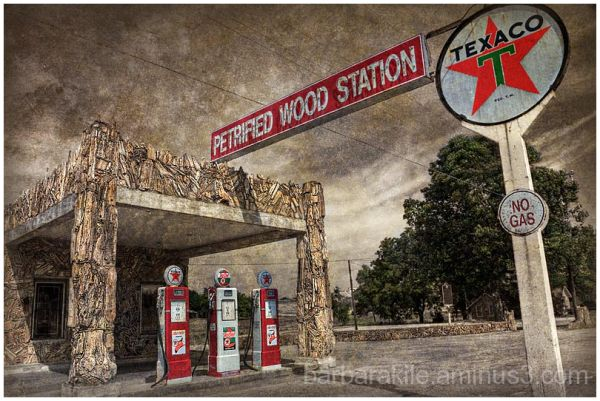 petrified rock gas station from Decatur, TX