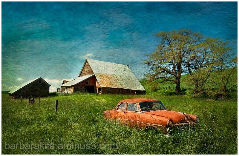 Texture overlay of old car and barn