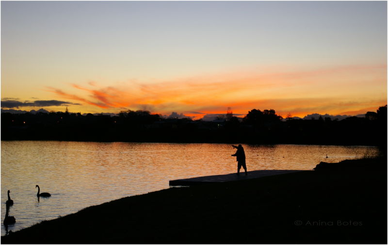 Lake Pupuke sunset fly-fishing