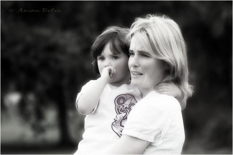 Mother Daughter Portrait B&W