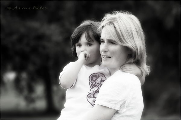 Mother Daughter Portrait B&W