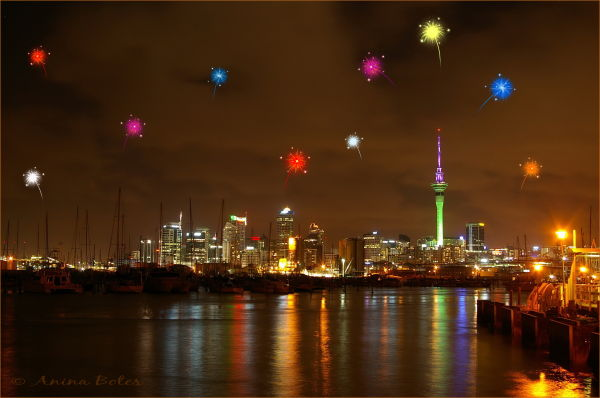 fireworks, new year, Auckland, skytower