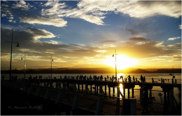 Ohope Beach, Port, Wharf, sunset, Sky
