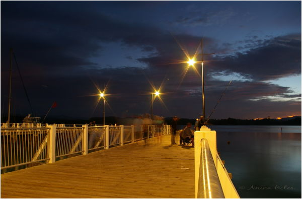 Port Ohope Wharf, Lights, Twilight, Night
