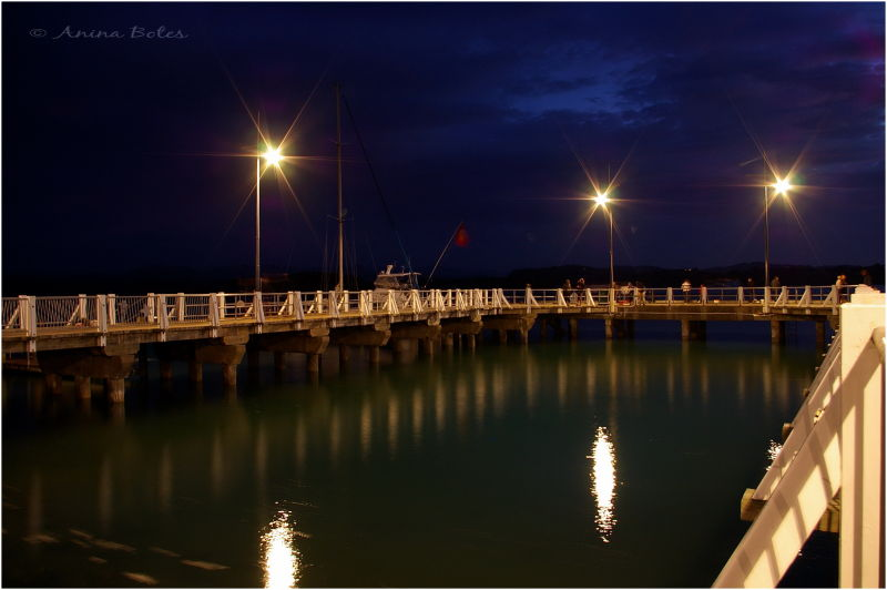 Port Ohope Wharf, Night, lights