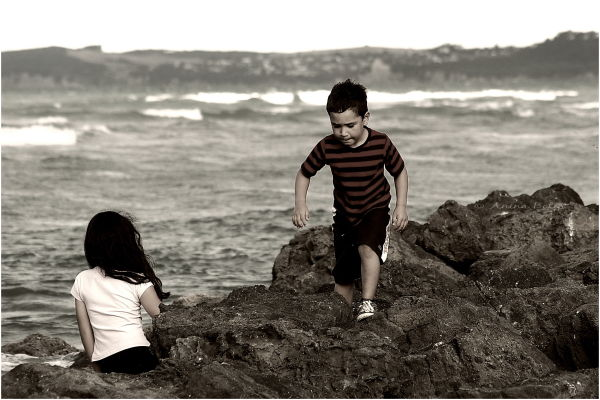 Boy,Sister, Rocks, Sea
