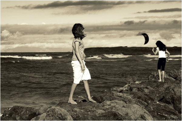Beach, wind, hair, rocks, girls, sepia