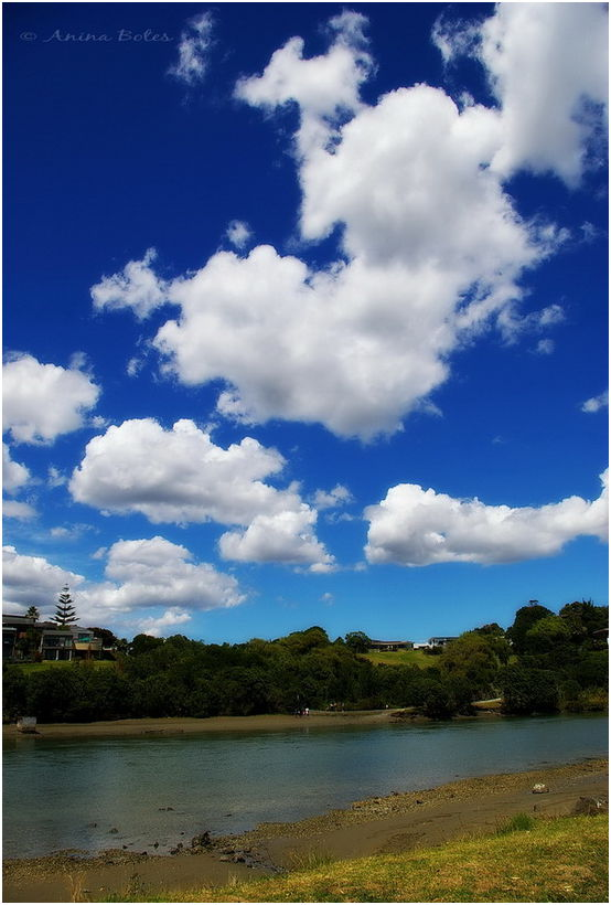 Orewa River, blue, sky, clouds