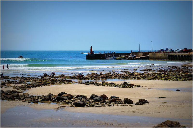 Ocean, blue, harbour wall, low tide