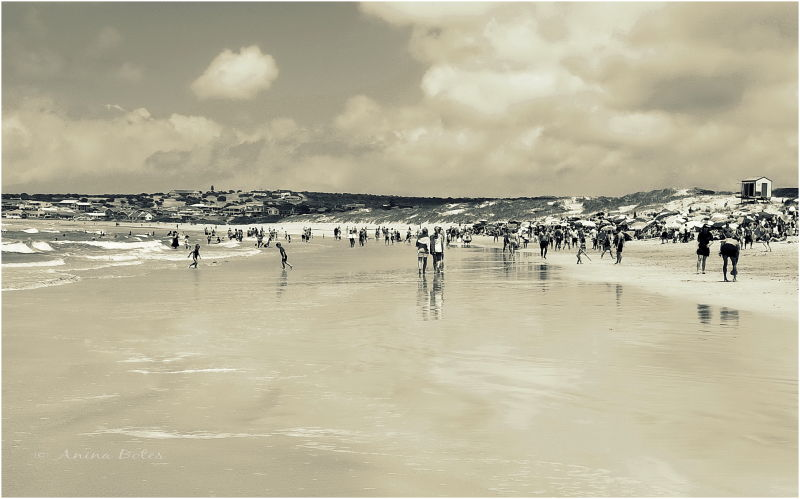 Beach, Summer, People, Sepia