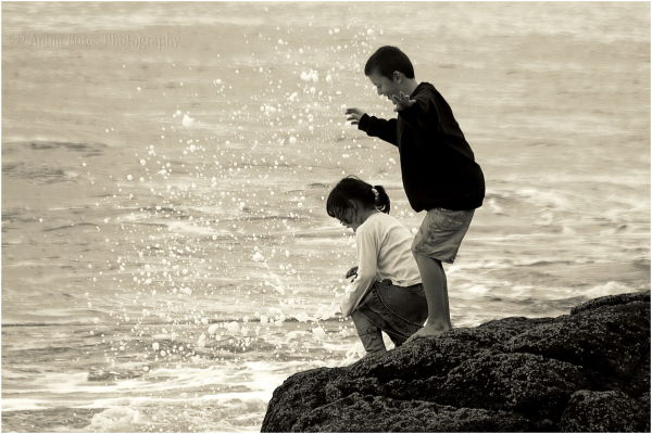 Sepia, Children, Rocks, Water, Sea
