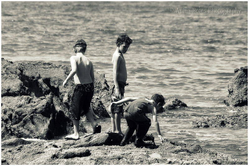 Boys, Rocks, Beach, Mission, B&W
