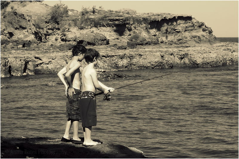 Boys, Fishing, Rocks, Beach, Sepia