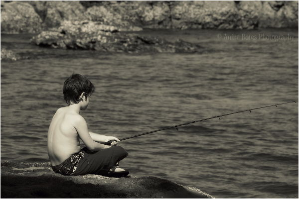 Boy, Fishing, Sepia
