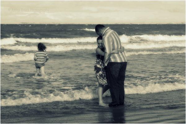 Kids, Dad, Beach, Photo Shoot, Family