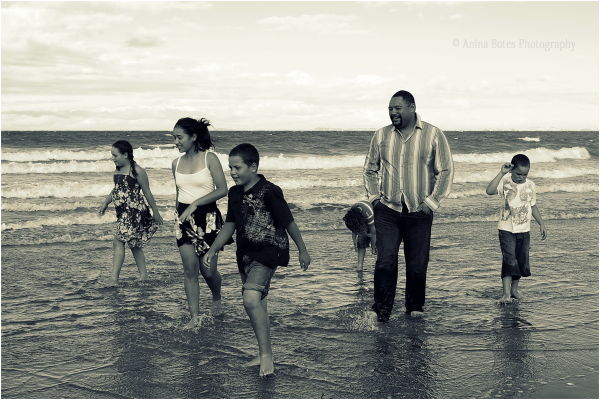 Dad, Kids, Beach, Sepia, Portrait