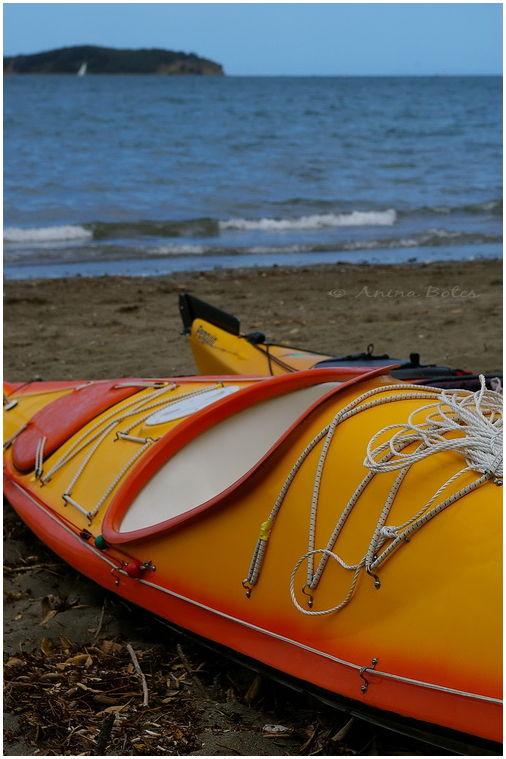 kayak, beach, sea, orange, yellow