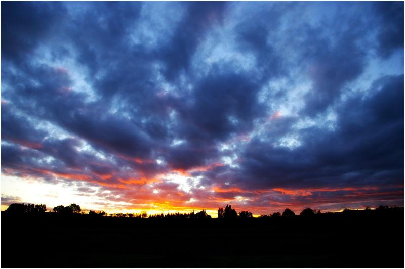 Sunset, blue, clouds