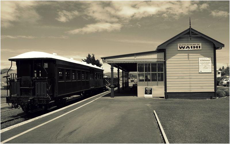 Waihi, Goldfields Railway, Station, Sepia, NZ