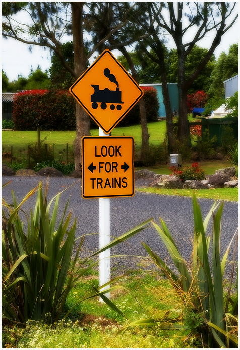 Silly Tuesday, Road Sign, Train, NZ